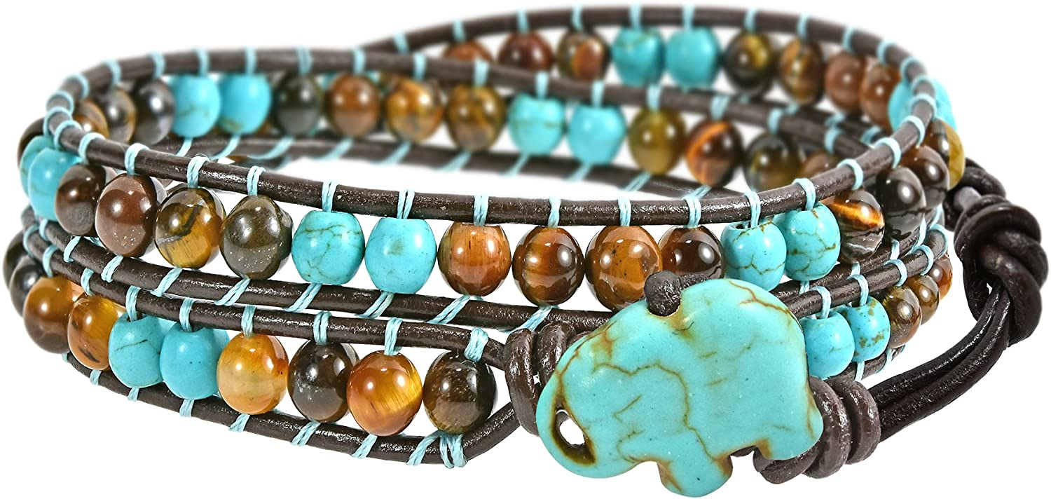AeraVida Timeless Wild Elephant Simulated Turquoise and Tiger's