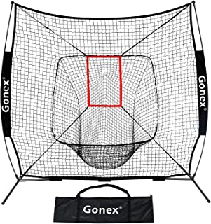 Gonex 7' x 7' Baseball & Softball Practice Net for Hitting and Pitching Batting, Practice Training Aid, with Strike Zone, Large Mouth, Bow Frame, Carrying Bag, Black
