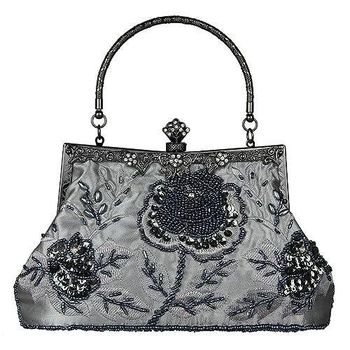 799a00b78e ECOSUSI Vintage Small Clutch Beaded Sequin Rose Evening Handbag Purse  Wedding Bag Seed Shoulder Bag