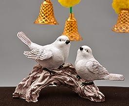 Rjkart Polyresin Sparrow Pair Idol Showpiece Sculpture Statue Love Birds Murti for Home Décor and Diwali Gift (White)