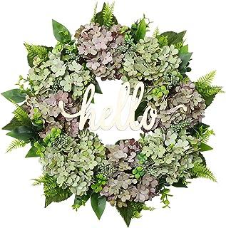 POETIC WREATH Spring Wreath Front Door Wreath 20 Inches Hydrangea Wreath Farmhouse Wreath Outdoor Wreath Spring Front Door Decoration Handmade Grapevine Wreath (Purple Green Hydrangea)
