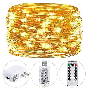HSicily - Luces de hadas USB con temporizador de control remoto, 8 modos de 120 luces LED USB con adaptador, luces LED de color blanco cálido para decoración de interiores de Navidad