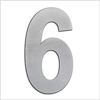 HERRAJES EVI Huisnummer voor buiten, poort, garage, 16 cm, roestvrij staal AISI 304, kleefmontage (nr. 6), 160 mm