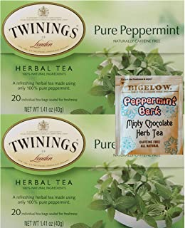 Twinings Pure Peppermint Organic Herbal English Tea. Pack of 2. Convenient One-Stop Shopping for the Best Peppermint Green Tea. An Aromatic Herbal Mint Paradise! Includes Minty Choco Tea Sample.