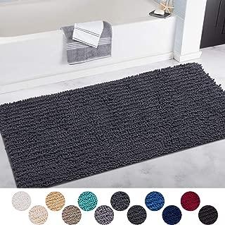DEARTOWN Non-Slip Shaggy Bathroom Rug(31x59 Inches,Dark Grey),Soft Microfibers Chenille Bath Mat with Water Absorbent, Machine Washable