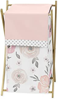 Blush Pink, Grey and White Baby Kid Clothes Laundry Hamper for Watercolor Floral Collection by Sweet Jojo Designs