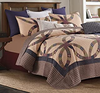 3 Piece Full/Queen Size Country Primitive Wedding Ring Quilt Set