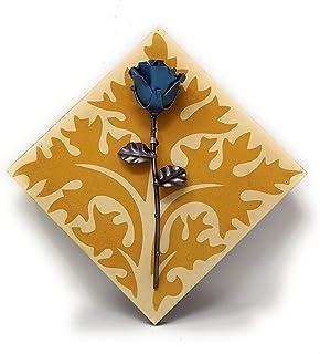 Rosa Eterna fatta di Ferro Battuto con Piastrella in Cemento decorativa - Pezzo unico