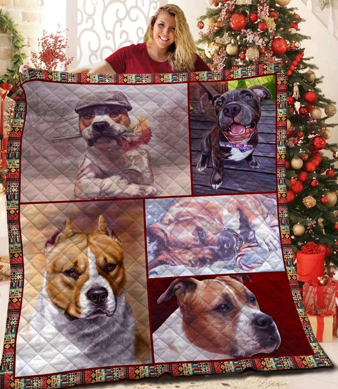 New product American Staffordshire Terrier Dog Quilt Mommy Gifts Indianapolis Mall Mo Mom from