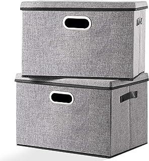 Caja de almacenamiento grande plegable con tapa [2 unidades] tela de lino decorativa, contenedores organizadores de almace...