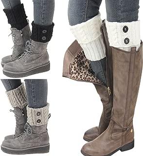 Bestjybt 3 Pairs Womens Short Boots Socks Crochet Knitted Boot Cuffs Leg Warmers Socks