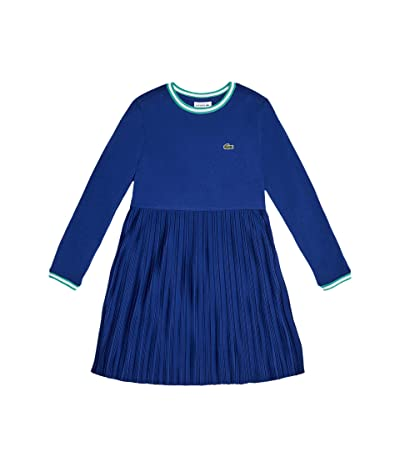 Lacoste Kids Long Sleeve Pleated Dress (Toddler/Little Kids/Big Kids) (Cosmic/Greenfinch/White) Girl