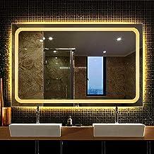 Large Bathroom Mirror/Backlit LED Lighted Makeup Mirror/Frameless Rectangular/Bedroom Home Furniture Illuminated