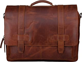 Genuine Leather Messenger Laptop Bag/Briefcase for Men, Logan, fits 15.4 inch Laptop, Adjustable Strap, 16 inch by 12 inch by 4 inch 16 inch by 12 inch by 4 inch brown