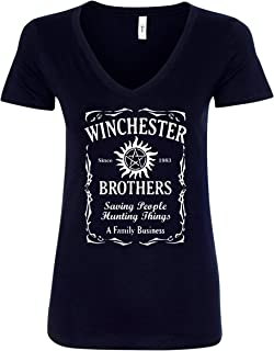 Winchester Brothers Whiskey Style V-Neck T-Shirt - Black New