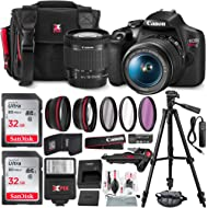 Canon T7 EOS Rebel DSLR Camera with EF-S 18-55mm f/3.5-5.6 is II Lens W/Telephoto & Wideangle...