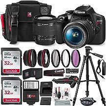 Canon T7 EOS Rebel DSLR cámara con EF-S 0.709-2.165in f/3.5-5.6 es II lente W/Telephoto y lente gran angular 3 pc. Kit de filtros + trípode + flash y 2 tarjetas SD de 32 GB y kit básico de accesorios