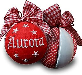 Crociedelizie, pallina di Natale personalizzata 8 cm nome ricamato decorazione natalizia personalizzabile rosso e raso bia...