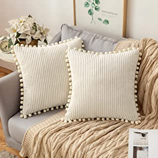 MIULEE Pack of 2 Corduroy Decorative Square Throw Pillow Covers with Pom-poms Stripe Solid Cushion Cases Soft Pillowcases ...