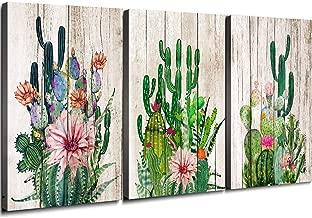 YOOOAHU Cactus Decor Bathroom Canvas Prints Wall Art Green Tropical Desert Fleshy Plant Watercolor Paintings Hand Painted on Canvas Set of Three 12