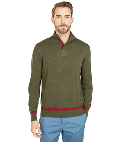 Nautica Classic Fit 1/4 Zip Sweater (Forest Night Heather) Men