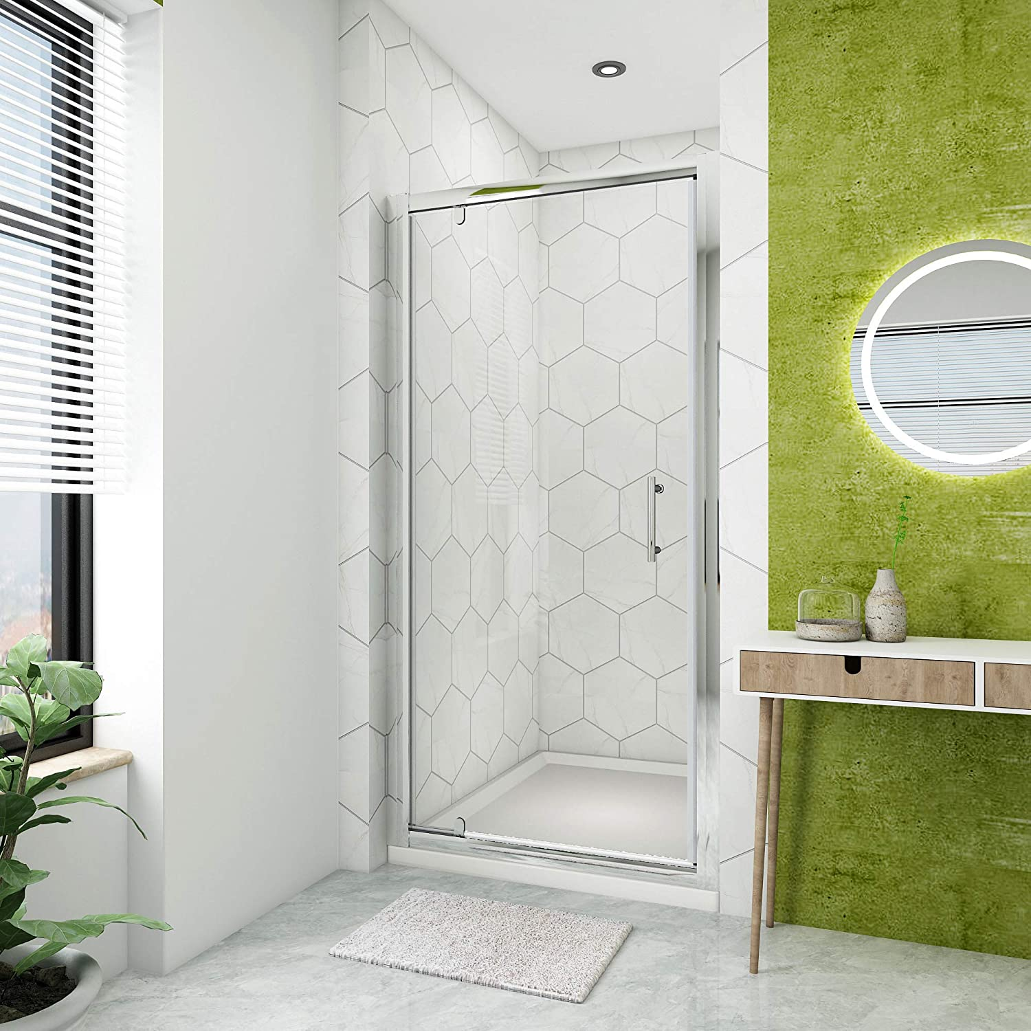 760mm Pivot Hinge Shower Door 6mm Safety Glass Reversible Shower Enclosure Cubicle