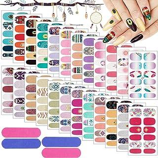 Kalolary 24 stks volledige wraps nagellak stickers, zelfklevende nail art stickers strips glitter gradiënt volledige nail ...