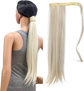 SWACC Women Long Straight/Curly Wavy Wrap Around Ponytail Extension Synthetic Hair Piece Clip in Hair extensions (Straight, Platinum Blonde-60#)