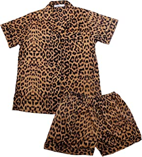 Women's Pajamas Set Leopard Striped Flower Love Cat Ladies Sleepwear Sets Short Sleeve Girls Pajamas Loungewear Nightgown