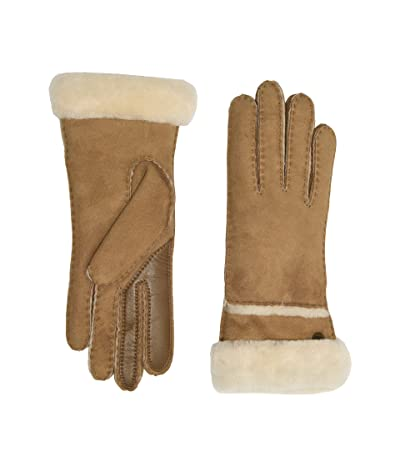 UGG Seamed Tech Water Resistant Sheepskin Gloves (Chestnut) Extreme Cold Weather Gloves