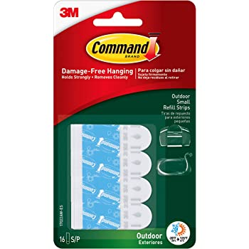 Command Outdoor Replacement Strips, Small, 16 Strips (17022AW-ES)