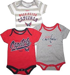 86f5ff6b Washington Capitals Red Gray White Stripe Infants 3 Piece Creeper Set