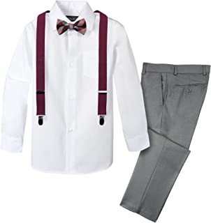 Spring Notion Boys' 4-Piece Patterned Dress up Pants Set