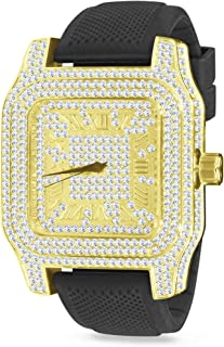 Iced Out Hip Hop 14k Yellow Gold Plated Gold Roman Numeral Square Face Dial Mens Black Silicone Band Watch