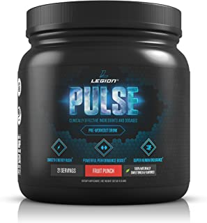 Legion Pulse Pre Workout Supplement - All Natural Nitric Oxide Preworkout Drink to Boost Energy & Endurance. Creatine Free, Naturally Sweetened & Flavored, Safe & Healthy. Fruit Punch, 21 Servings