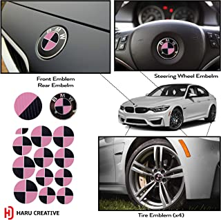 Haru Creative - Vinyl Overlay Aftermarket Decal Sticker Compatible with and Fits All BMW Emblem Caps for Hood Trunk Wheel Fender (Emblem Not Included) - 4D Carbon Fiber Black and Pink