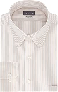 Van Heusen mens Pinpoint Regular Fit Stripe Button Down Collar Dress Shirt Dress Shirt