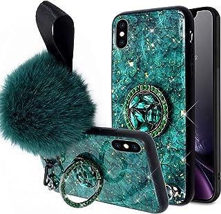 ikasus Case for iPhone XS/X,Girls Women Marble Design Inlaid Glitter Rhinestone Diamond Bling Shockproof Hybrid Hard Back ...