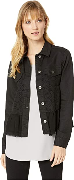 Karter Denim and Lace Ruffle Jacket