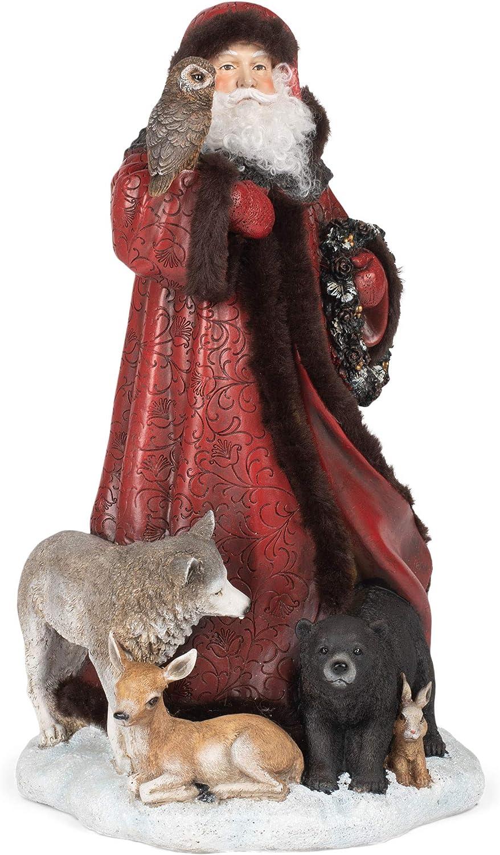 Roman 133558 Santa with Animals 15.5 格安SALEスタート Figurine Red inch Atskirt 早割クーポン