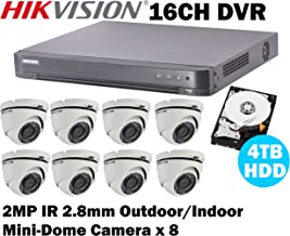 Hikvision 16CH Turbo HD Analog CCTV System with 16CH DVR + 4TB HDD and 2MP IR Outdoor/Indoor Mini-Dome Camera x8