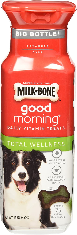 MilkBone Good Morning Total Wellness Daily Vitamin Dog Treats, 15 oz., Pack of 2