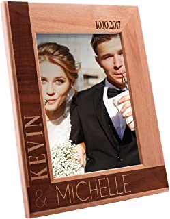 Personalized Wooden Wedding, Engagement, Valentines Day, Memorial Picture, Customized Bamboo Photo Frame - Custom Frame - Size Options: 4x6   5x7   8x10 (WD2)