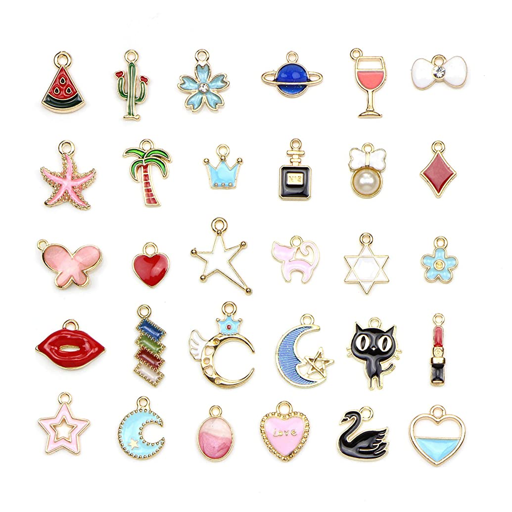 Youkwer 30pcs Mixed Colorful Charms Pendants for Jewelry Making, DIY Craft Charms Bulk for Necklace Bracelet Jewelry Making Crafting (Colorful Charms 30 pcs)