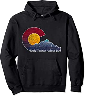 Rocky Mountain National Park Hoodie with Flag Themed Scene
