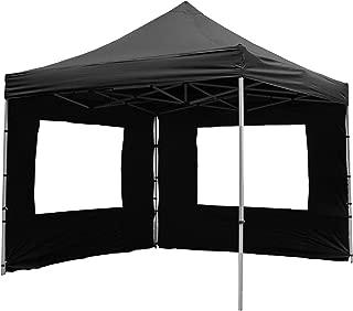 Nexos PROFI Falt-Pavillon Partyzelt mit 2 Seitenteilen hochwertige Ausführung für Garten Terrasse Feier Markt als Unterstand Plane wasserdichtes Dach 3 x 3 m schwarz