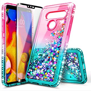 LG V40 ThinQ Case with Tempered Glass Screen Protector (Full Coverage) for Girls Women, NageBee Glitter Bling Liquid Floating Quicksand Waterfall Sparkle Cute Case for LG V40 ThinQ -Pink/Aqua