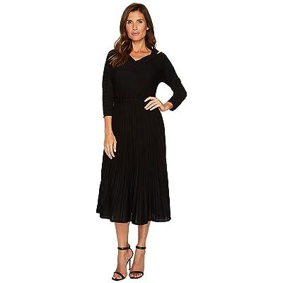 NIC+ZOE Sleeved Shimmer Pleats Dress (Metallic Black) Women