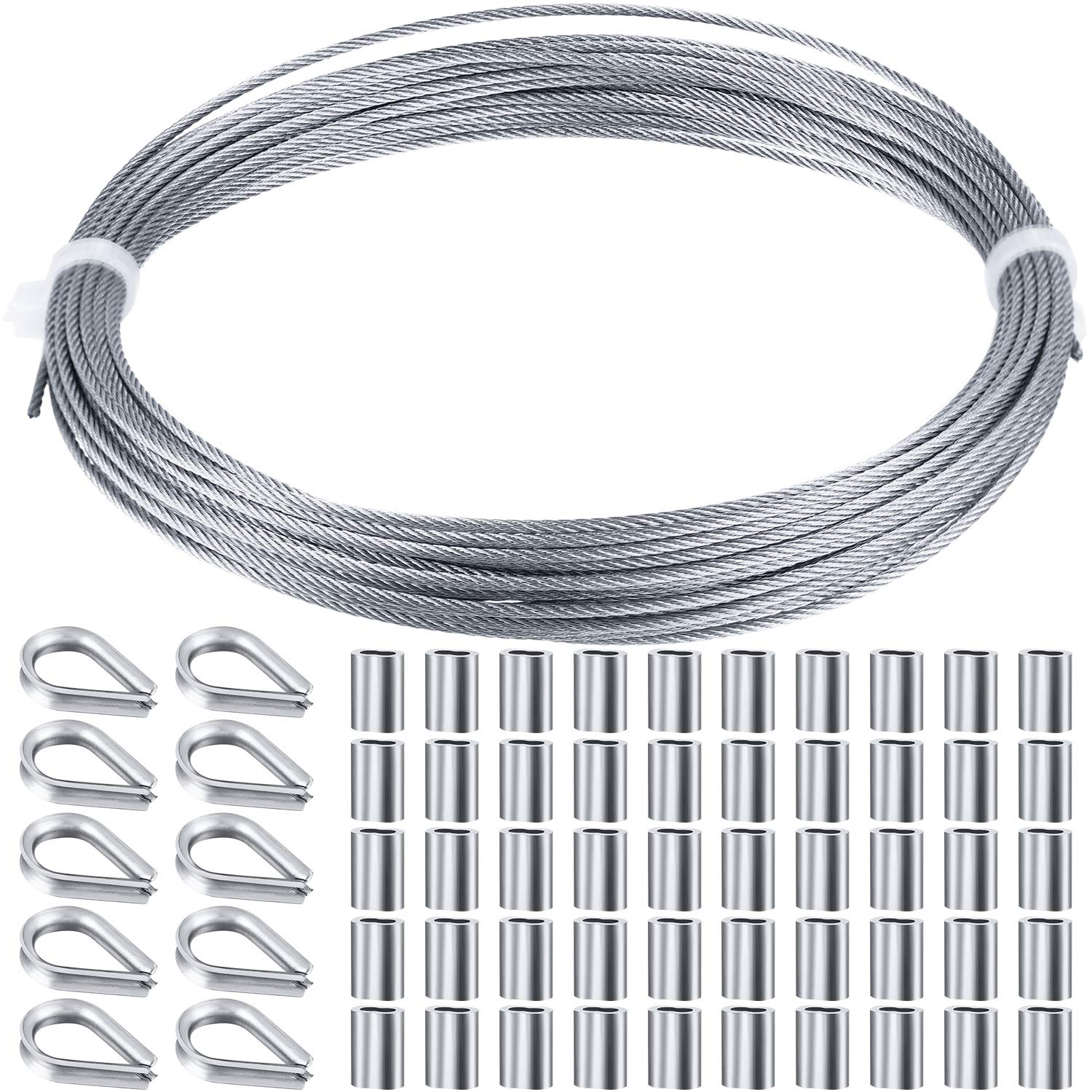 5M Cable Railing Steel Wire PVC Coated Heavy Duty 304 Stainless Steel Cable Rope Hanging Wire