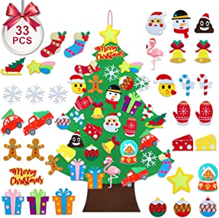 TOBEHIGHER Felt Christmas Tree - 3.5 FT DIY Felt Christmas Tree for Kids, 33 Pcs Detachable Ornaments, Door Wall Hanging X...